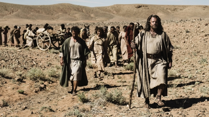 Moses leads the Israelites on the Exodus out of Egypt.