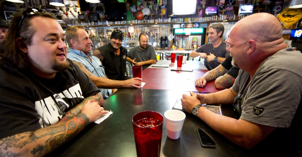 Chumlee Russell, Rick Dale, Danny Koker, Frank Fritz, Mike Wolfe, Corey Harrison and Rick Harrison