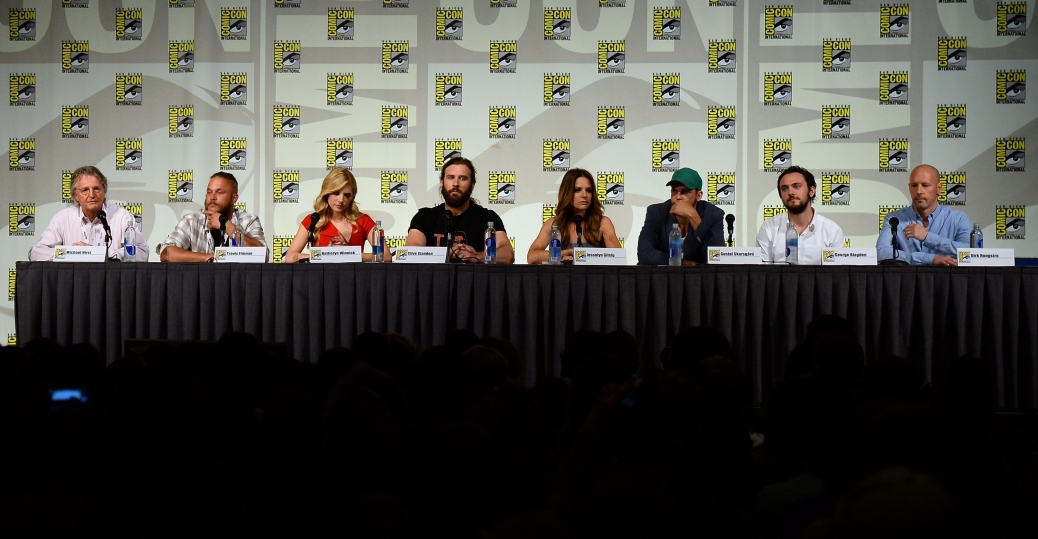 The Vikings cast answers questions at the All Hail Vikings panel at San Diego Comic-Con. (Photo Credit: Ethan Miller/ImageWork)