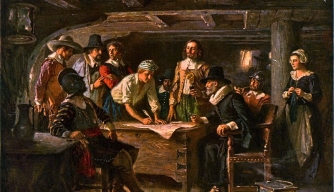 William Bradford, William Brewster and John Carver sign the Mayflower Compact