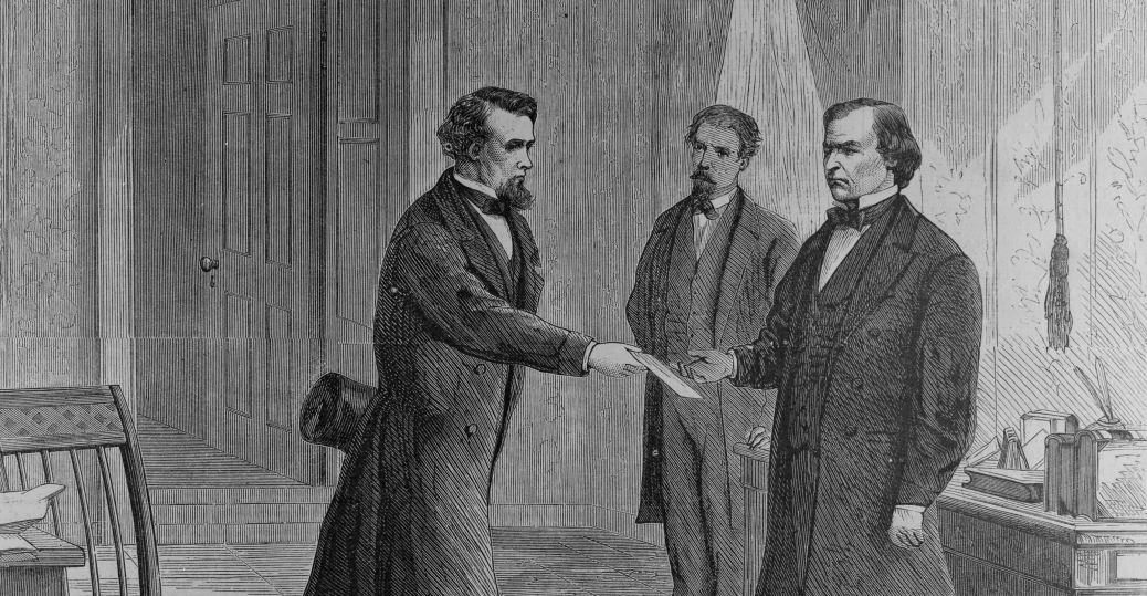 secretary of war, reconstruction acts, violation, the house, president andrew johnson, impeachment