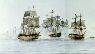 The Saratoga and Eagle vs. the Confidence during the battle of Plattsburgh on Lake Champlain.