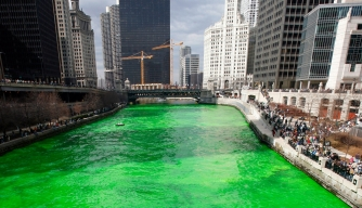 Chicago River Green on Saint Patrick's Day