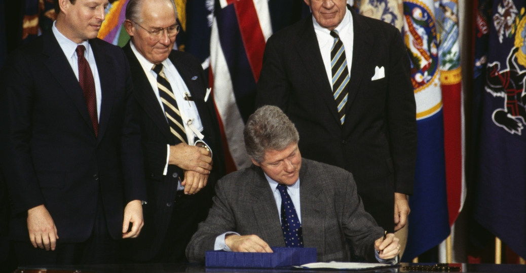 nafta, the north american free trade agreement, canada, mexico, bill clinton