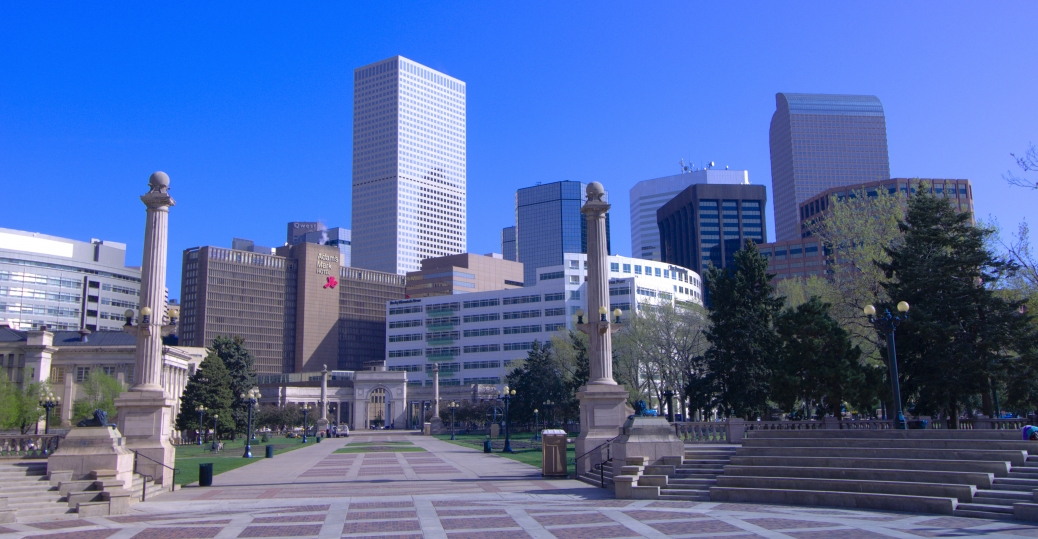 denver, skyline, civic center park, downtown denver, greek amphitheater