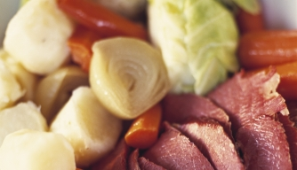 Corned Beef with Cabbage, Leeks and Carrots on St. Patrick's Day