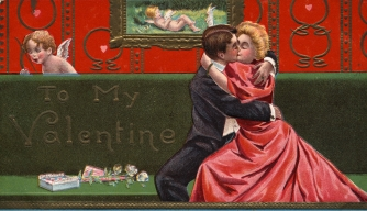 Postcard of Couple Embracing on Valentine's Day