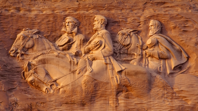 leaders of the confederacy, president jefferson davis, general robert e lee, general thomas stonewall jackson, stone mountain, georgia