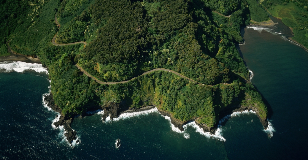 winding, hana road, slopes, maui coast, hawaii