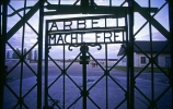 "The Holocaust - A concentration camp entrance gate with the words ""Arbeit Macht Frei"" (""Work Brings Freedom"")"