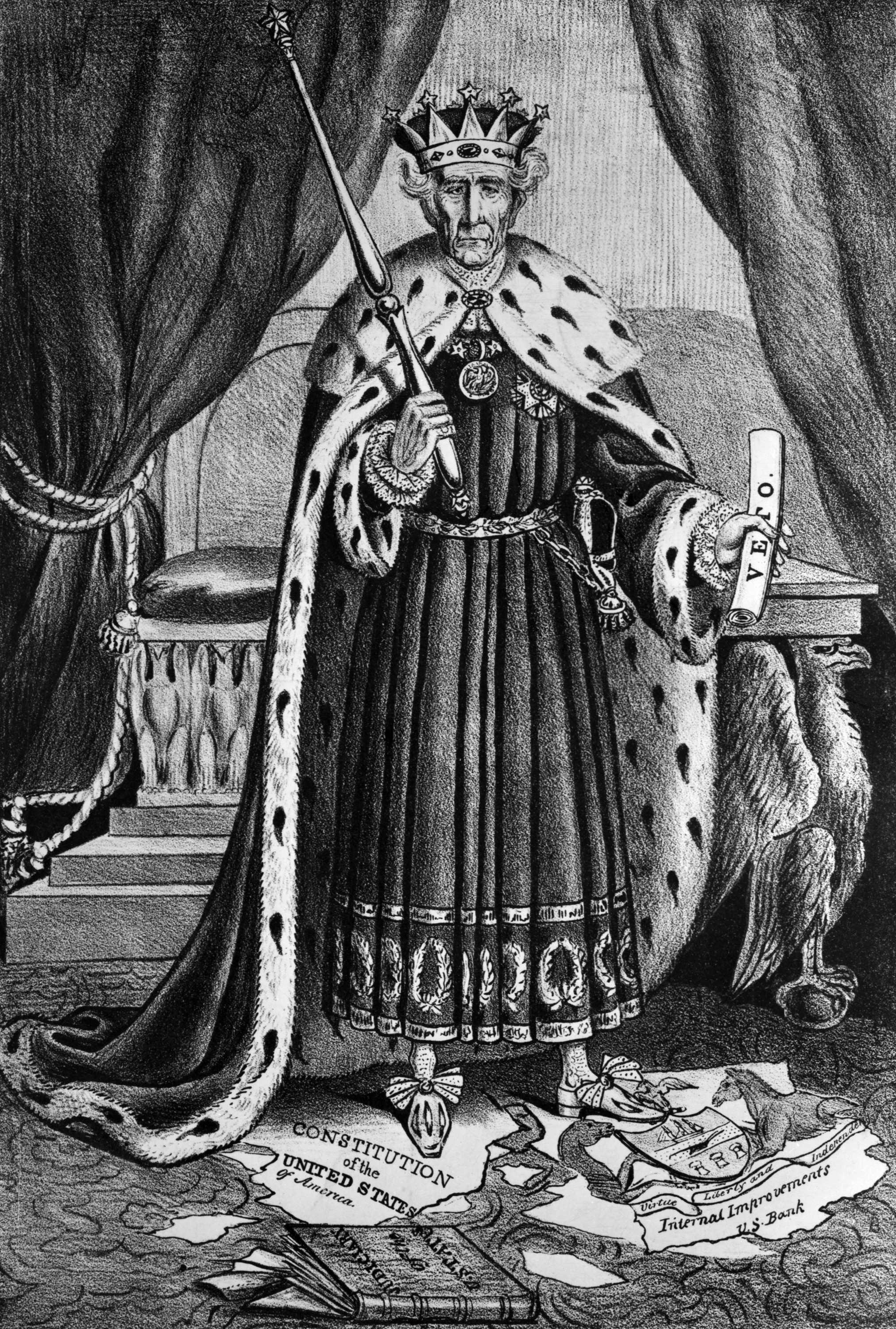 king andrew i andrew jackson dictator political cartoon