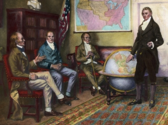 the monroe doctrine in the 20th Although the monroe doctrine of 1823 was essentially passive (it asked that europeans not increase their influence or recolonize any part of the western hemisphere), by the 20th century a more confident united states was willing to take on the role of regional policeman.