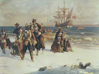 How were the settlers in Plymouth County different than the Massachusetts Bay Colony settlers?