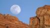 zion canyon, zion national park, moon, utah