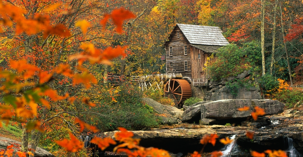 glade creek, grist mill, babcock state park, west virginia