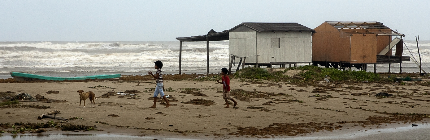 Children on Tamaulipas beach following passage of Hurricane Alex