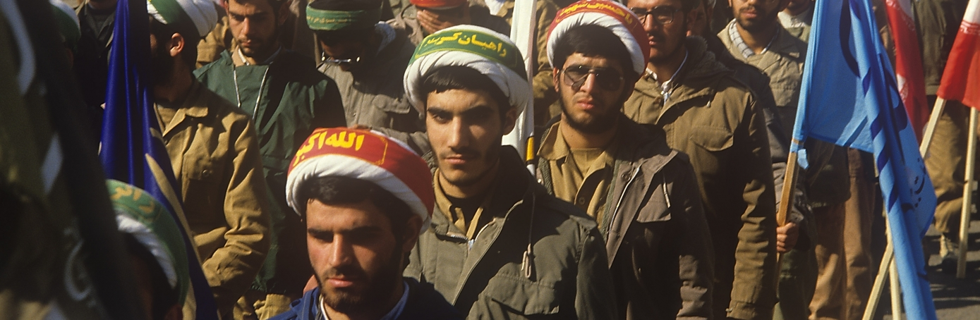 Iran clergymen march in Tehran during Iran-Iraq War