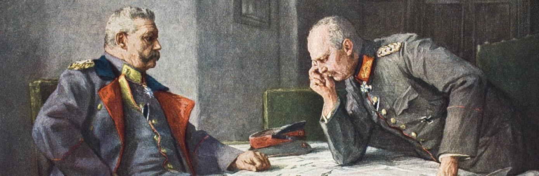 German General Paul Von Hindenburg and chief of staff Erich Von Ludendorff plot strategy