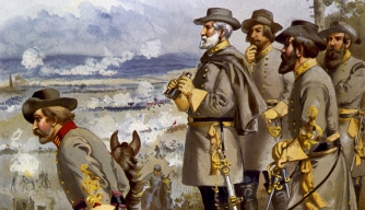 Painting of Gen. Robert Lee and troops during Battle of Fredericksburg