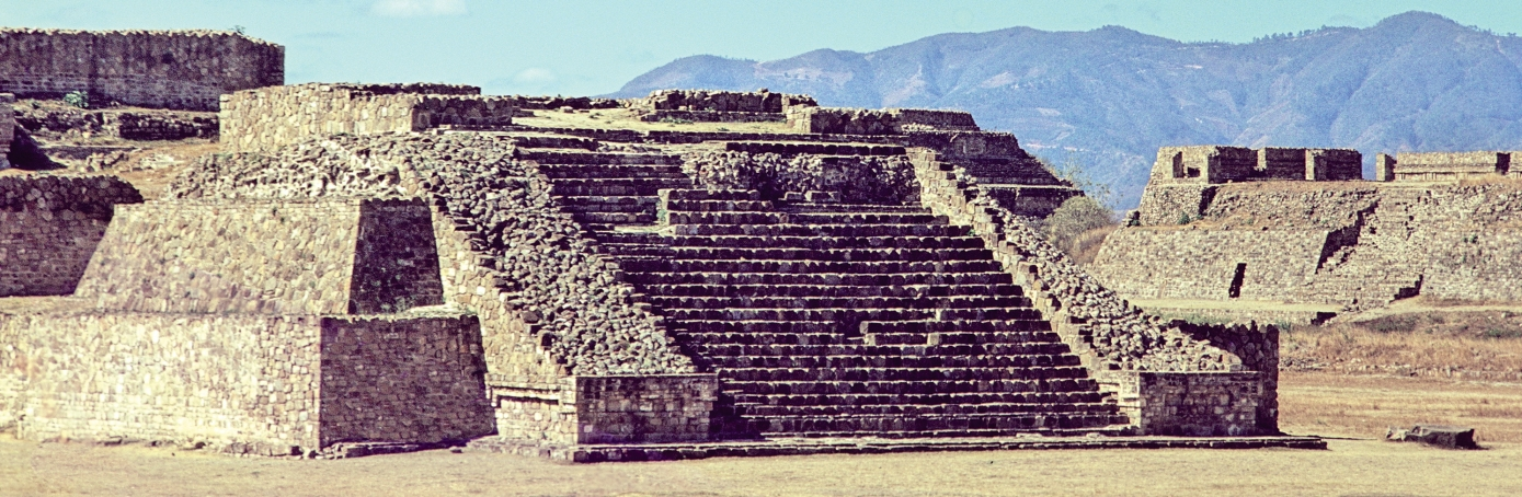 Step pyramid at Monte Alban, Oaxaca, Mexic
