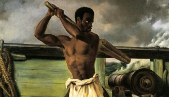 Slave rebellion painting by Edouard Antoine Renard