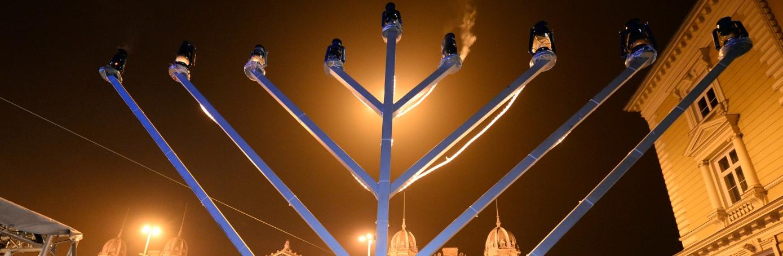 Giant menorah in Budapest
