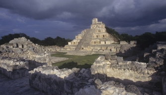 Mexico, Campeche, Edzna, The Great Acropolis exterior
