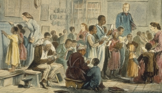 Engraving of freed black slaves learning to read in school circa 1860