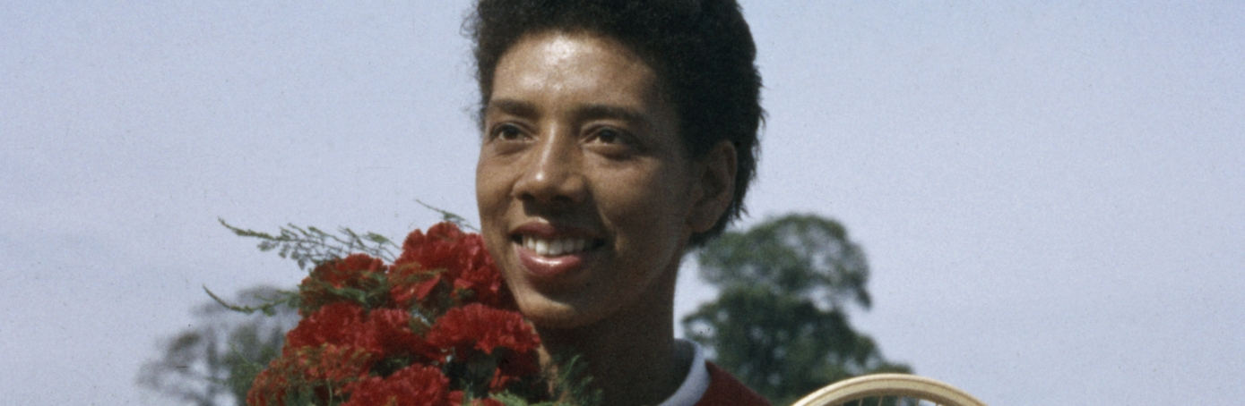 Althea Gibson celebrates win