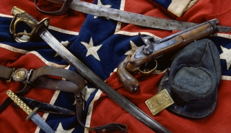 Civil War Confederate artifacts include a rare battleflag in mint condition, a C.S.A belt plate, and a very rare two-piece round buckle with belt.