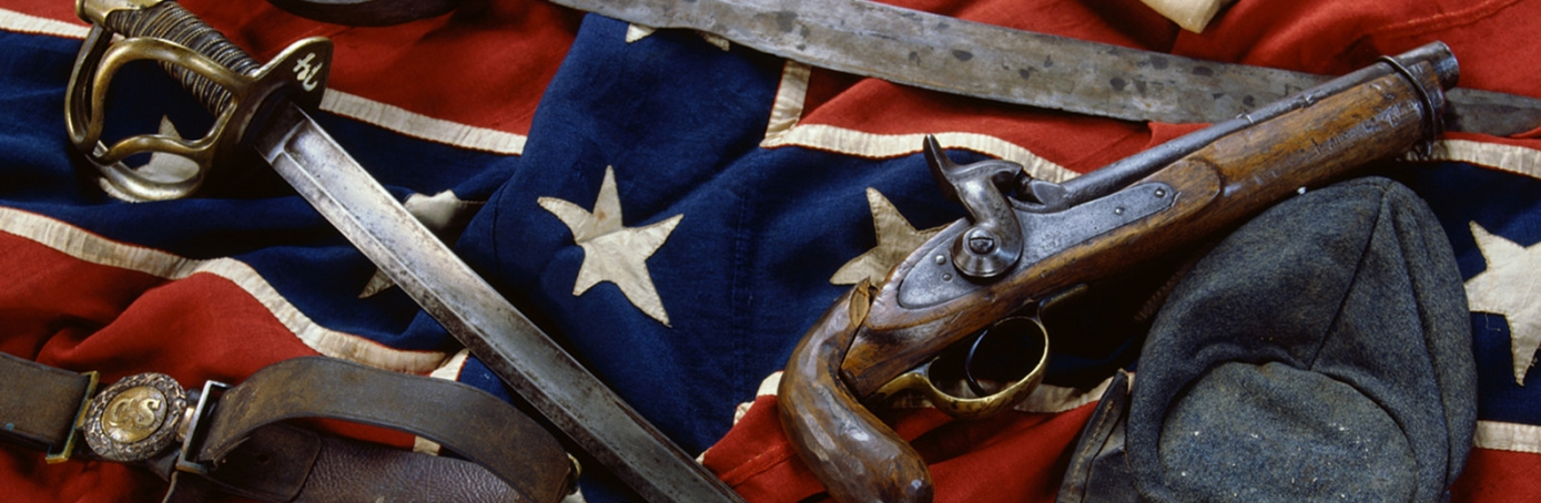 Civil War Confederate artifacts include a rare battleflag in mint condition, a C.S.A belt plate, and a very rare two-piece round buckle w
