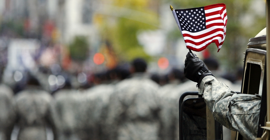 u.s. armed serviceman, american flag, veterans, veterans day, veterans day parade, fifth avenue, new york
