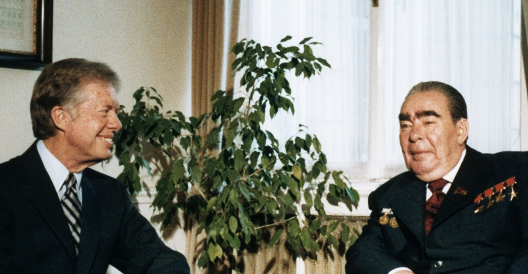 soviet president leonid brezhnev, president jimmy carter, strategic arms limitation treaty, the cold war, american leaders, salt II talks