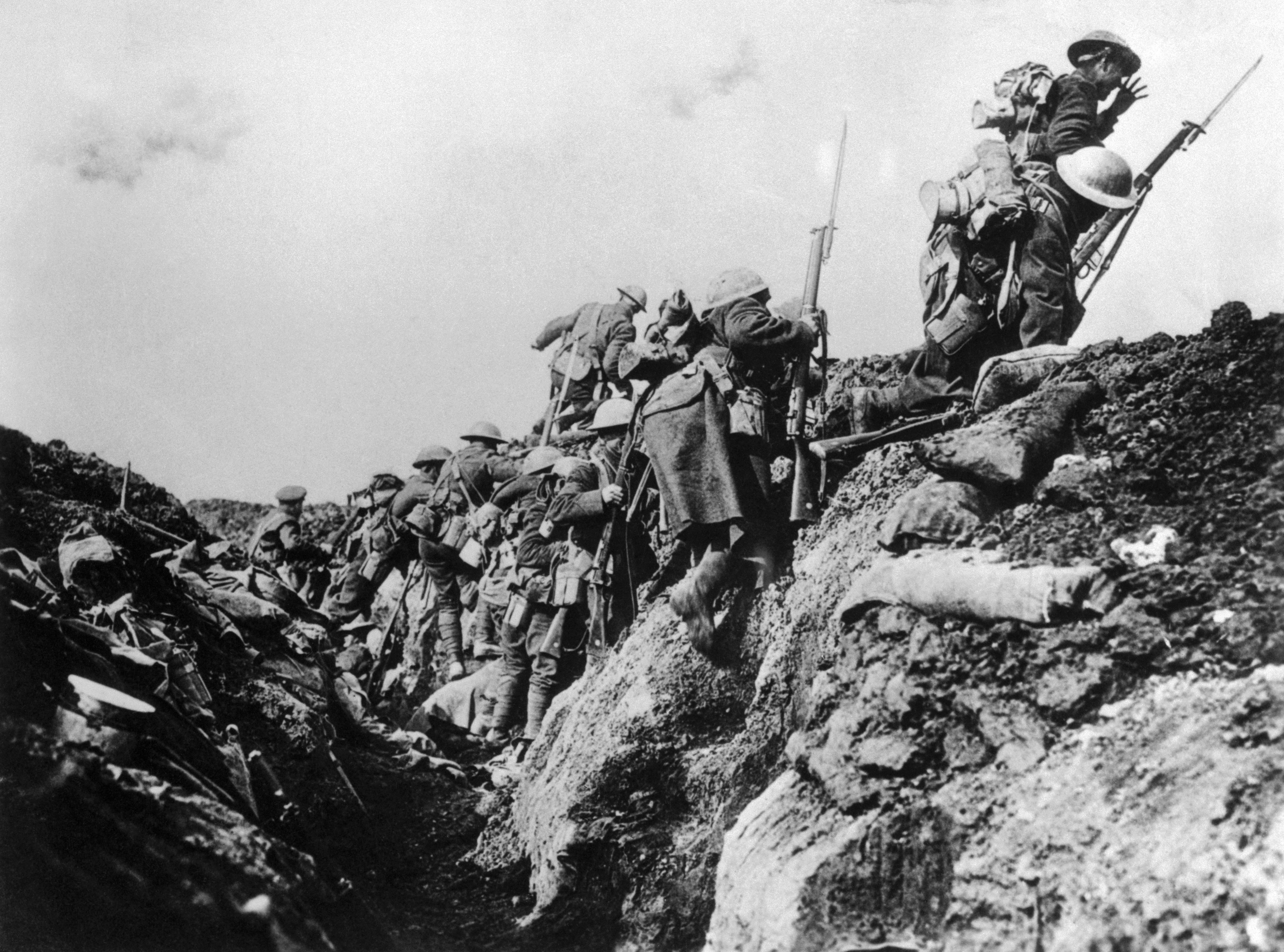 canadian soldiers going into action from trench   world