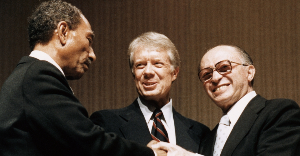 anwar as sadat, president jimmy carter, menachem begin, the camp david accords, peace treaty, 1979
