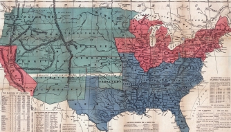 Map of free and slave states and the territory open to slavery or freedom by the repeal of the Missouri compromise.
