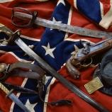the civil war, confederate artifacts, battle flag, confederate belt, kepi, knife, civil war weapons