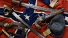 the civil war, confederate artifacts, battle flag, confederate belt, kepi, knife, civil war weapons