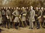 Group portrait of General Robert E. Lee (1807-1870) with his generals in the Confederate army.