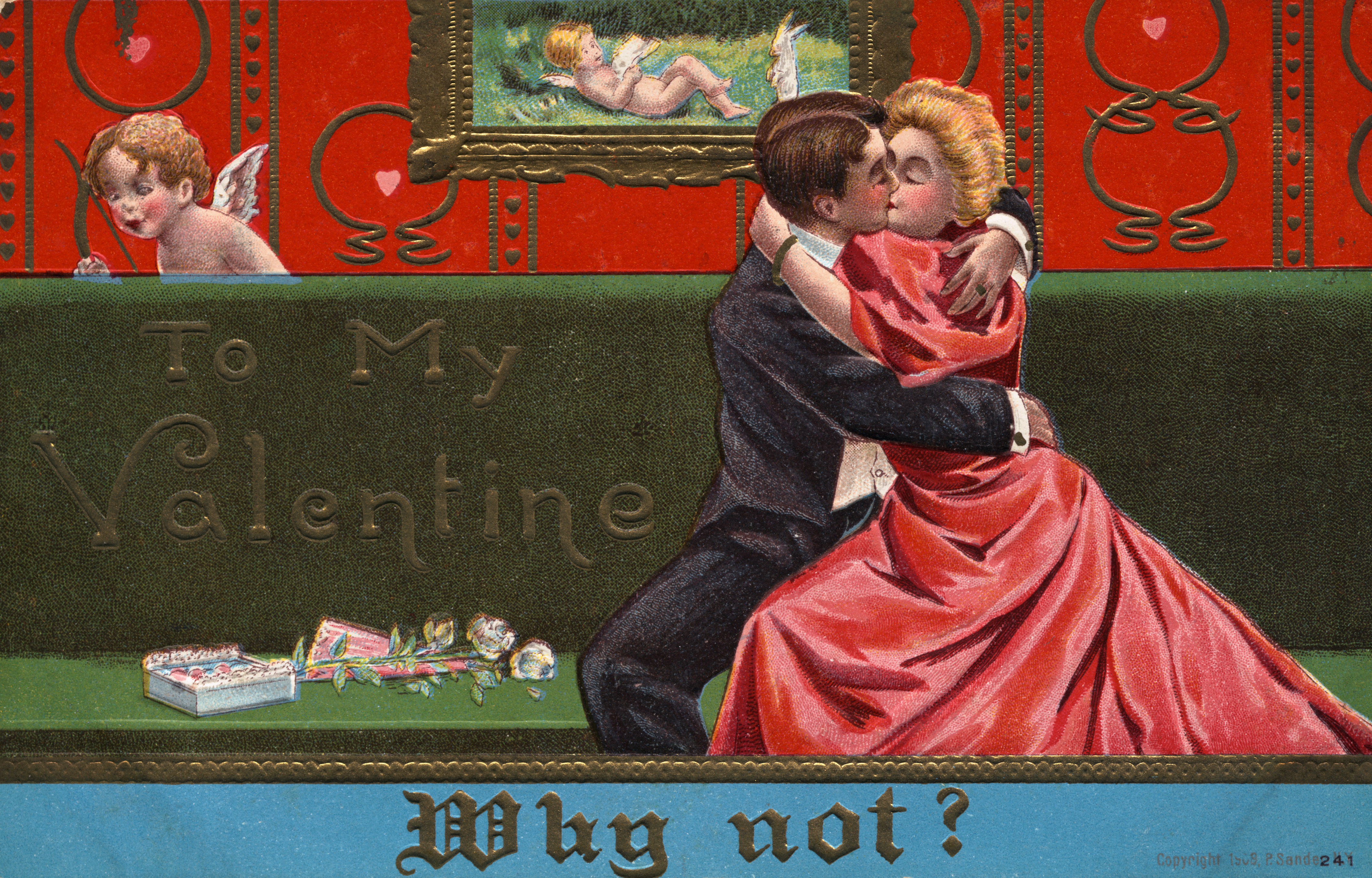 postcardofcoupleembracing2 Valentines Day Pictures – History Valentines Day Cards