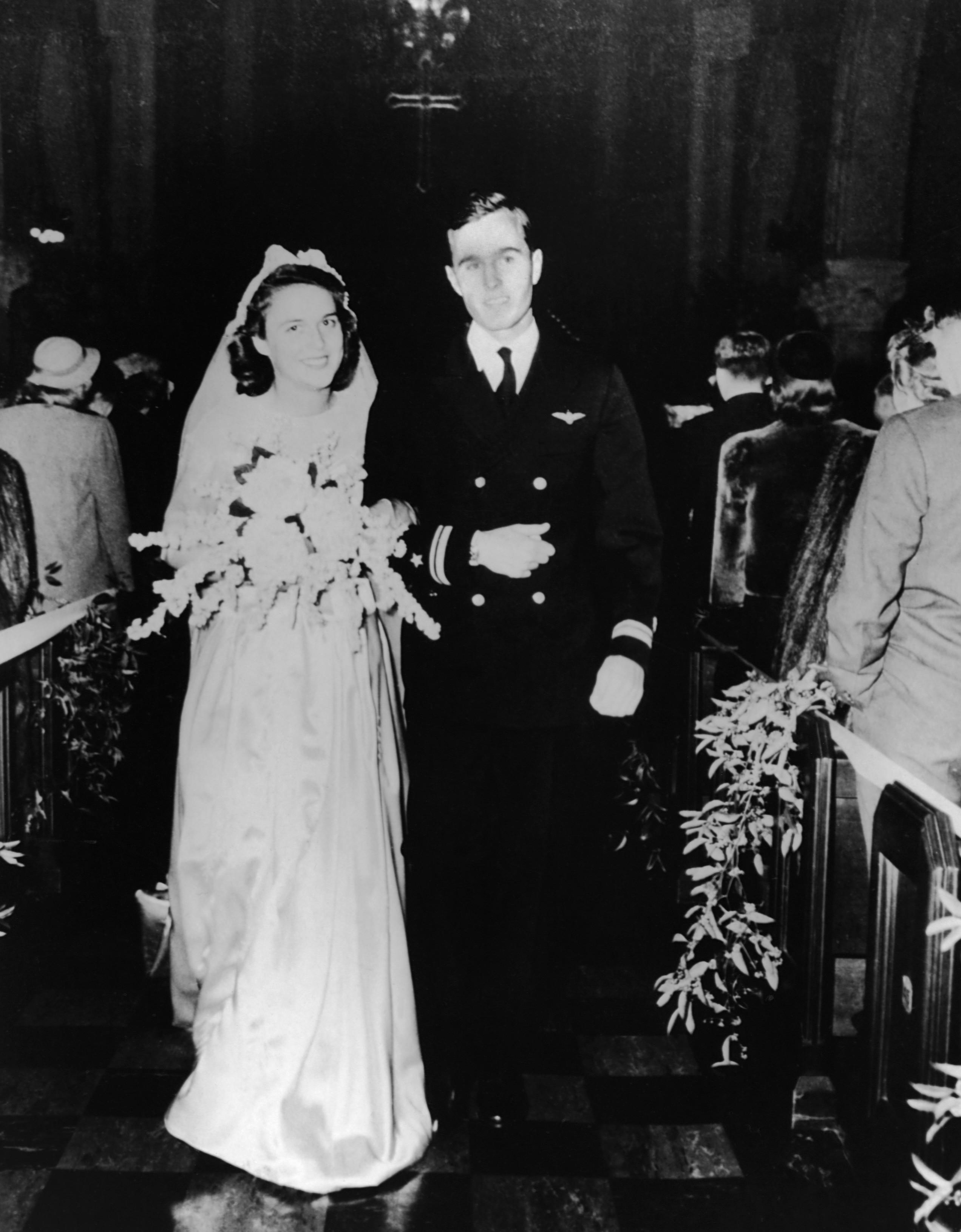 1945 George Bush Barbara Pierce Wedding