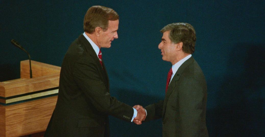 1988 presidential elections, george bush, michael dukakis, presidential debate