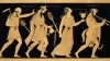 19th century, vase illustration, dionysus, three figures