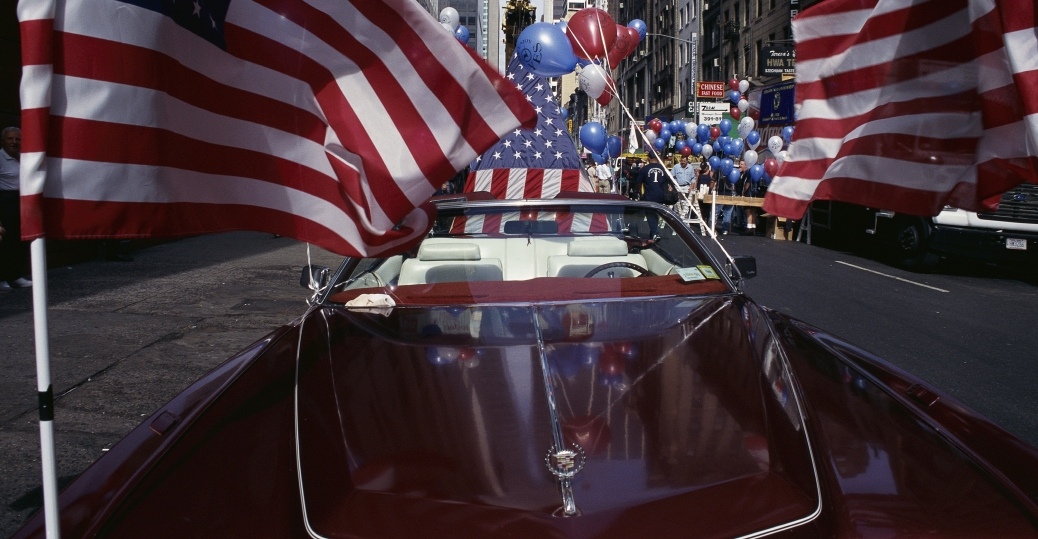 american flags, cadillac convertible, labor day, labor day parade, new york city, motorcade