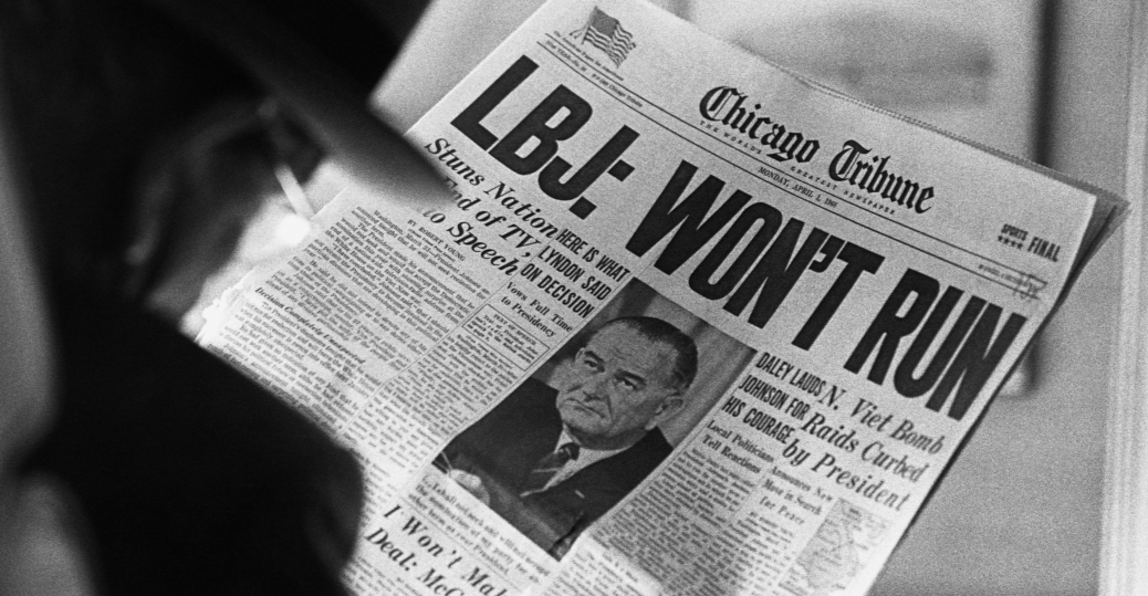 1968, president johnson, lyndon b. johnson, reelection, chicago tribune