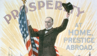 william mckinley, president mckinley, mckinley's campaign, new imperialism, spanish american war, 25th president of the united states, prosperity at home, prestige abroad