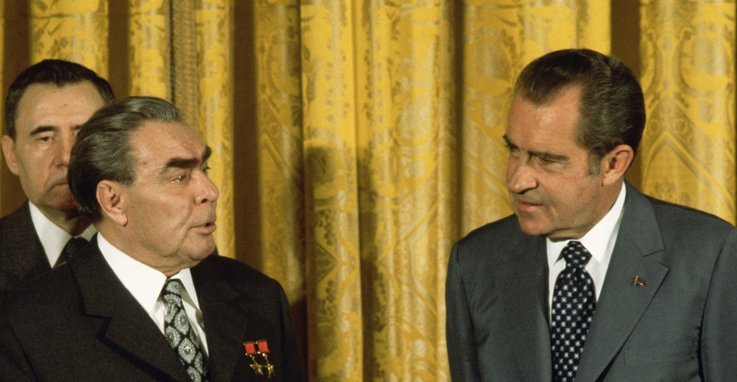 president richard nixon, ussr president leonid brezhnev, the cold war, american leaders