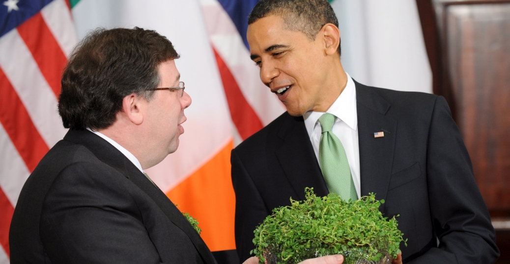 president barack obama, shamrocks, st. patrick's day, irish, brian cowen, 2009