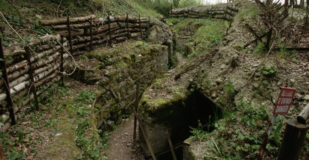 butte de vauquois, german trench and bunker, verdun, world war I, trench warfare