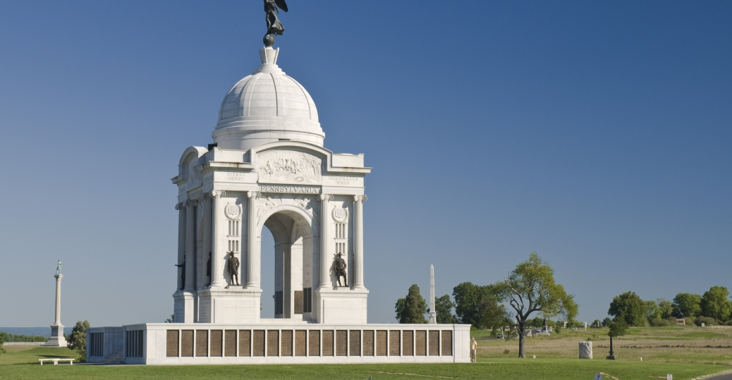 the pennsylvania monument, cemetery ridge, gettysburg, the battle of gettysburg, the civil war, pennsylvania